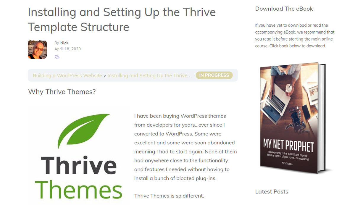 Installing and Setting Up the Thrive Template Structure